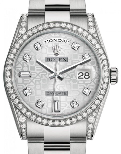Men's Rolex Day-Date 36 White Gold Silver Jubilee Diamond Dial & Diamond Set Case & Bezel Oyster Bracelet 118389 - BRAND NEW - Global Timez