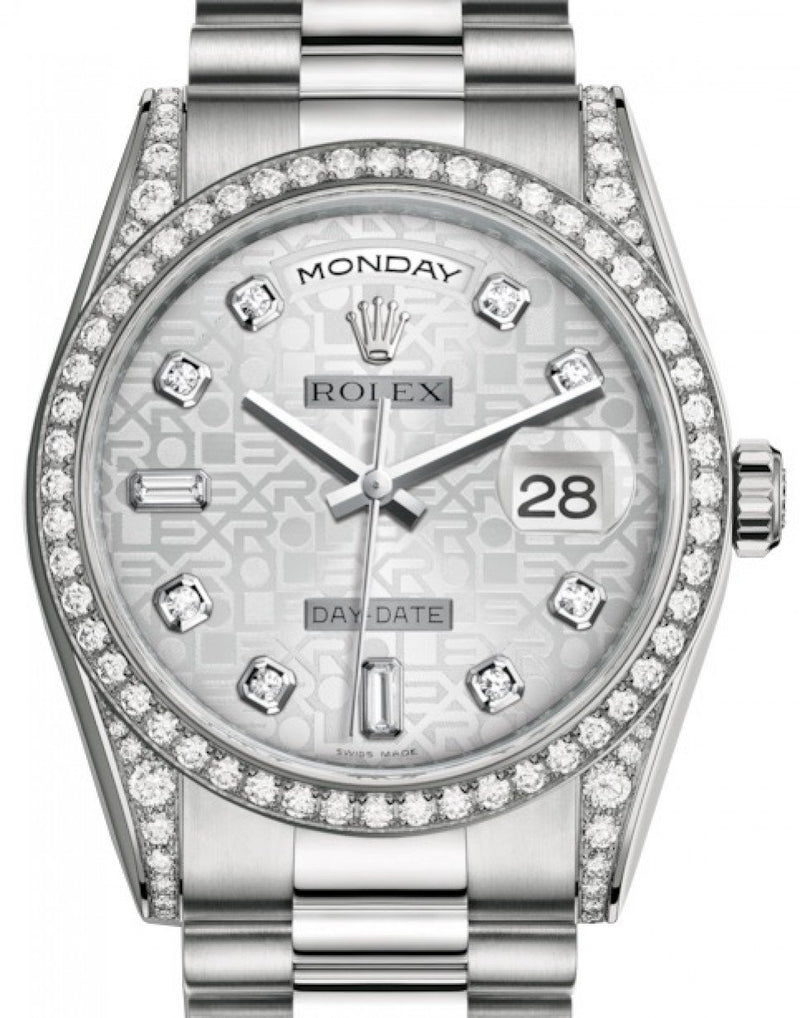 Men's Rolex Day-Date 36 White Gold Silver Jubilee Diamond Dial & Diamond Set Case & Bezel President Bracelet 118389 - BRAND NEW