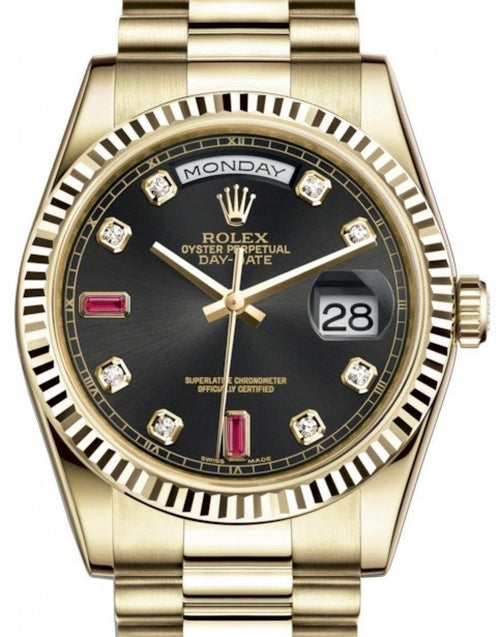 Men's Rolex Day-Date 36 Yellow Gold Black Diamond & Rubies Dial & Fluted Bezel President Bracelet 118238 - BRAND NEW - Global Timez