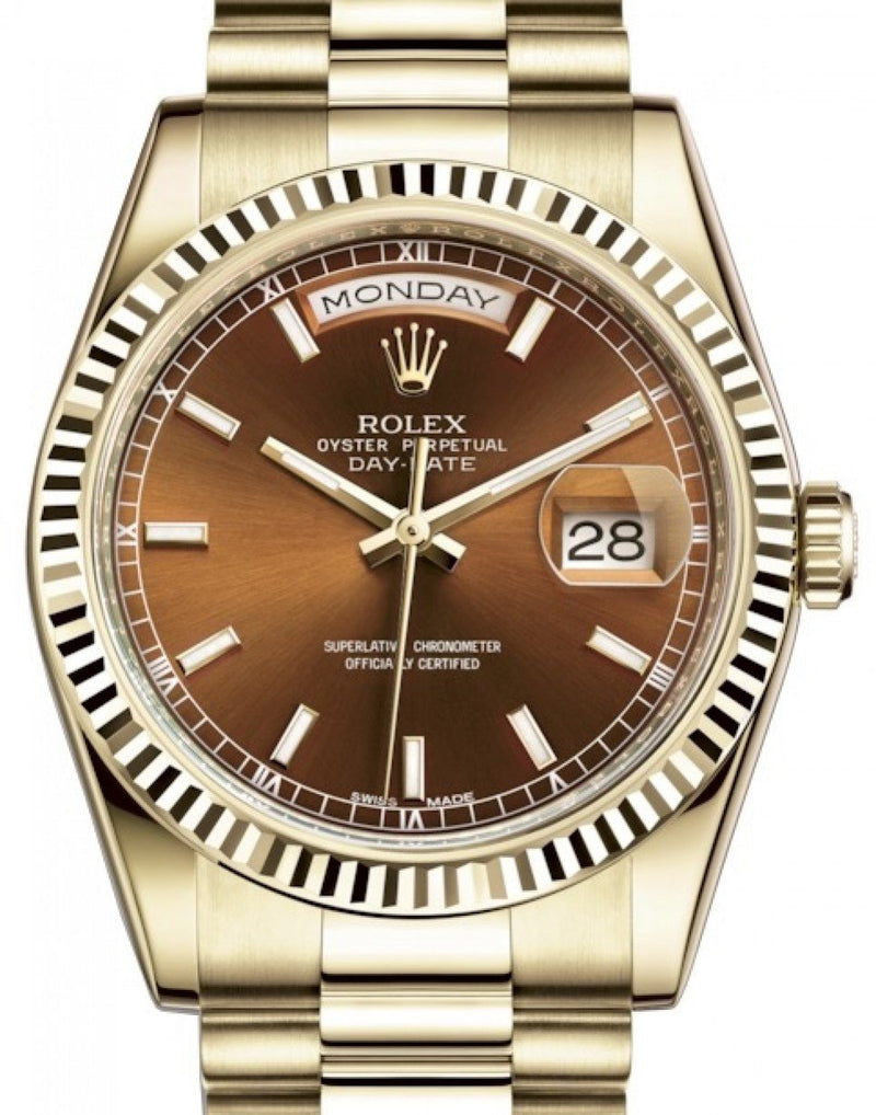 Men's Rolex Day-Date 36 Yellow Gold Cognac Brown Index Dial & Fluted Bezel President Bracelet 118238 - BRAND NEW