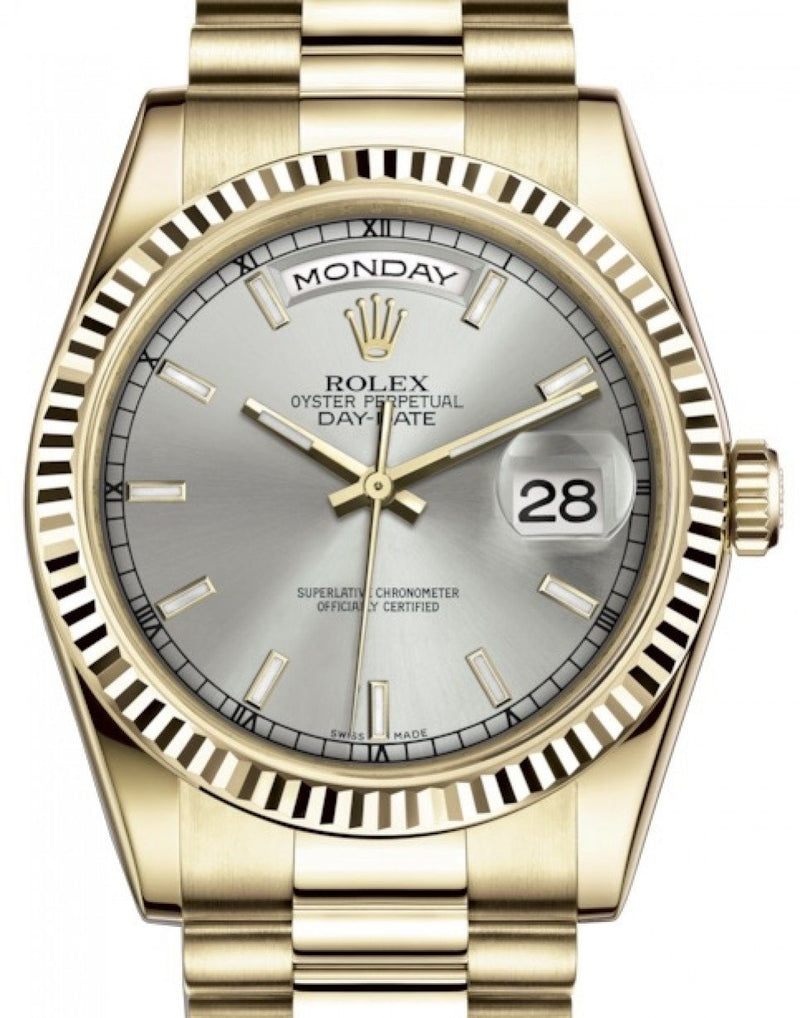 Men's Rolex Day-Date 36 Yellow Gold Silver Index Dial & Fluted Bezel President Bracelet 118238 - BRAND NEW
