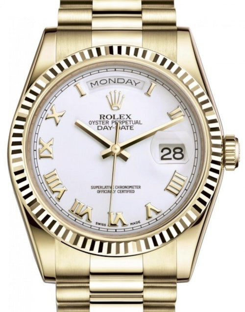 Men's Rolex Day-Date 36 Yellow Gold White Roman Dial & Fluted Bezel President Bracelet 118238 - BRAND NEW - Global Timez