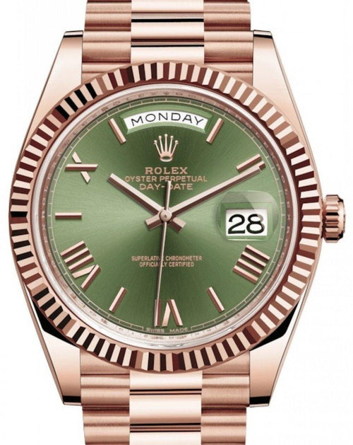 Men's Rolex Day-Date 40 Rose Gold Olive Green Roman Dial & Fluted Bezel President Bracelet 228235 - BRAND NEW - Global Timez