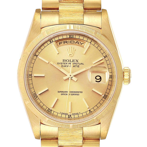 Rolex Day-Date President 36mm Yellow Gold Bark Finish Men's Watch 18248 PRE-OWNED - Global Timez