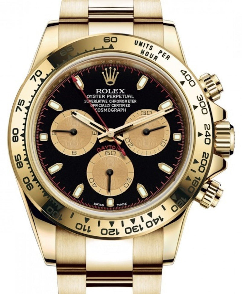 Men's Rolex Daytona Yellow Gold Paul Newman Black/Champagne Index Dial Yellow Gold Bezel Oyster Bracelet 116508 - BRAND NEW