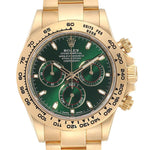 Rolex Daytona Yellow Gold Green Dial Men's Watch 116508 Box Card PRE-OWNED