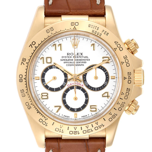 Men's Rolex Daytona Yellow Gold White Dial Chronograph Men's Watch 16518 PRE-OWNED - Global Timez