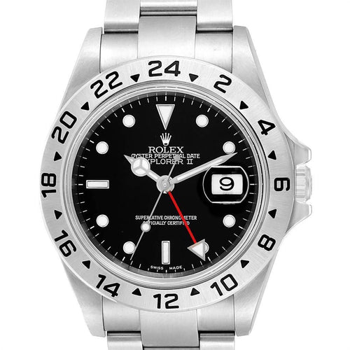 Rolex Explorer II 40 Black Dial Automatic Steel Men's Watch 16570 PRE-OWNED - Global Timez