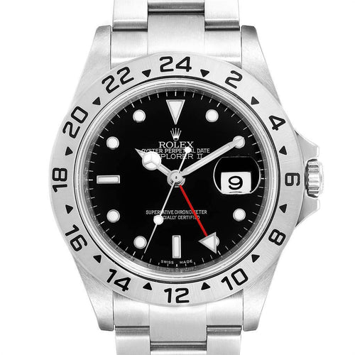 Rolex Explorer II 40 Black Dial Red Hand Steel Men's Watch 16570 Unworn PRE-OWNED - Global Timez