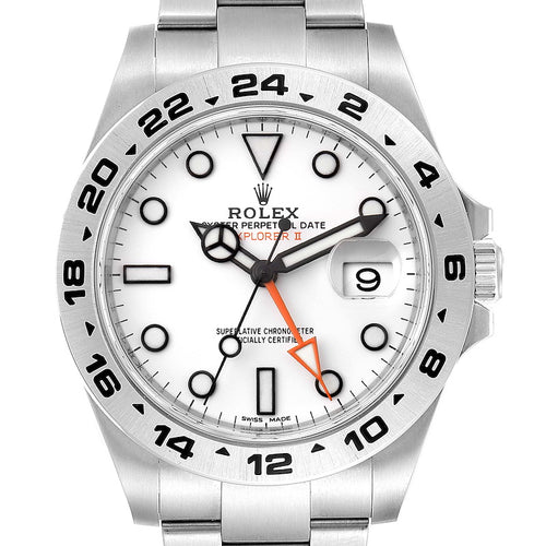 Men's Rolex Explorer II 42 White Dial Orange Hand Steel Watch 216570 Unworn PRE-OWNED