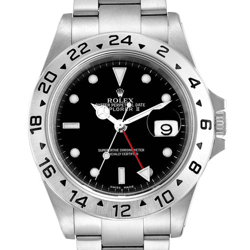 Men's Rolex Explorer II Black Dial Automatic Steel Men's Watch 16570 Box Papers PRE-OWNED - Global Timez