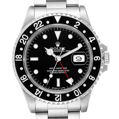 Men's Rolex GMT Master Black Bezel Steel Men's Watch 16700 Box Papers PRE-OWNED
