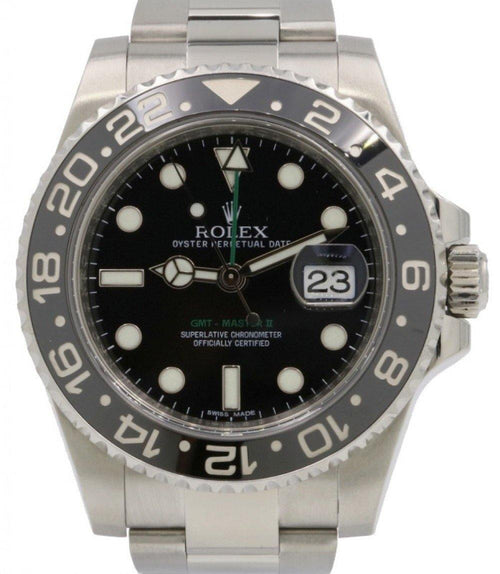 Men's Rolex GMT-Master II Stainless Steel Black Dial & Ceramic Bezel Oyster Bracelet 116710LN - PRE-OWNED - Global Timez
