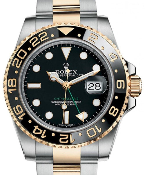 Men's Rolex GMT-Master II Yellow Gold/Steel Black Dial & Ceramic Bezel Oyster Bracelet 116713LN - BRAND NEW - Global Timez