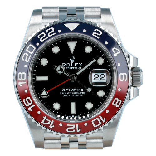 "Men's Rolex GMT-Master II ""Pepsi"" Steel Black Dial & Red/Blue Ceramic Bezel Jubilee Bracelet 126710BLRO - BRAND NEW - Global Timez"