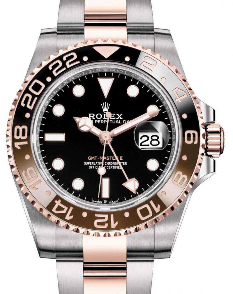 "Men's Rolex GMT-Master II ""Root Beer"" Rose Gold/Steel Black Dial Black/Brown Ceramic Bezel 126711CHNR - BRAND NEW"