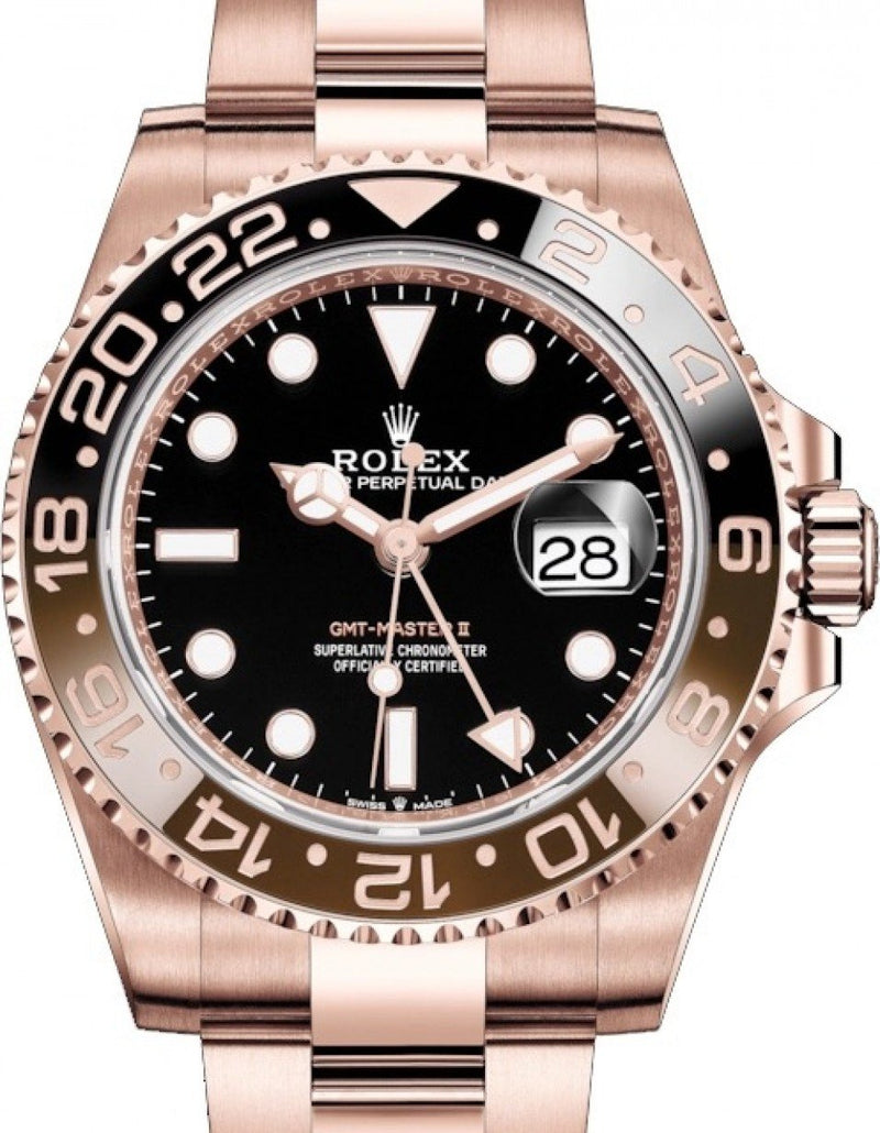 Ladies Rolex GMT-Master II Rose Gold Black Dial & Brown/Black Ceramic Bezel Oyster Bracelet 126715CHNR - BRAND NEW