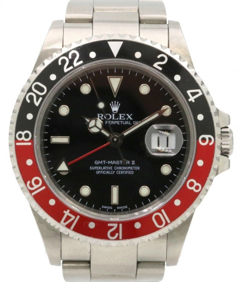"Men's Rolex GMT-Master II Stainless Steel 40mm ""Coke"" Black Red Stainless Steel Oyster Date Holes 16710 - PRE - OWNED"