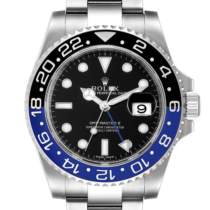 Men's Rolex GMT Master II Batman Blue Black Bezel Steel Watch 116710 Unworn PRE-OWNED