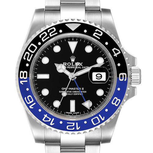 Men's Rolex GMT Master II Batman Blue Black Ceramic Bezel Steel Watch 116710 PRE-OWNED