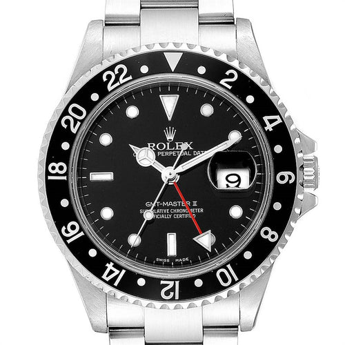 Rolex GMT Master II Black Bezel Red Hand Men's Watch 16710 Box Card PRE-OWNED