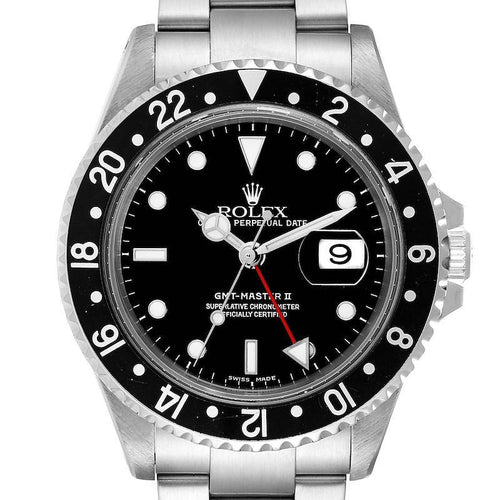 Men's Rolex GMT Master II Black Bezel Red Hand Steel Men's Watch 16710 PRE-OWNED - Global Timez