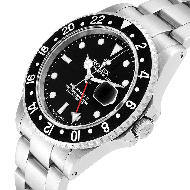 Men's Rolex GMT Master II Black Bezel Red Hand Steel Men's Watch 16710 PRE-OWNED