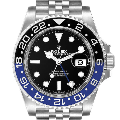 Men's Rolex GMT Master II Black Blue Batman Jubilee Men's Watch 126710 Box Card PRE-OWNED