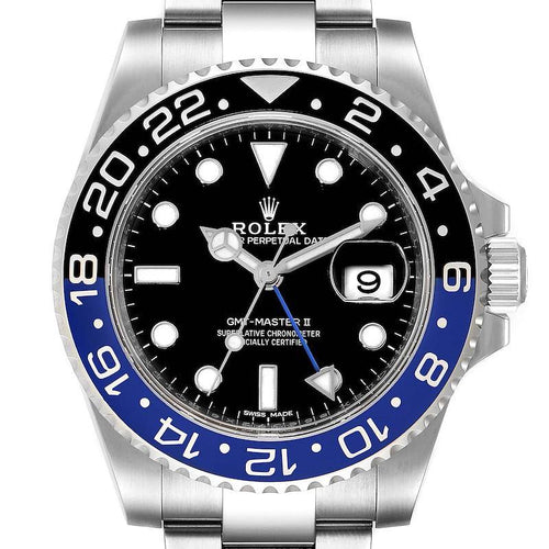 Men's Rolex GMT Master II Batman Blue Black Bezel Steel Watch 116710 Box Card PRE-OWNED - Global Timez