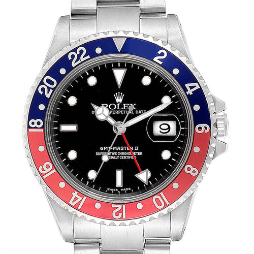 Rolex GMT Master II Blue Red Pepsi Bezel Steel Men's Watch 16710 PRE-OWNED