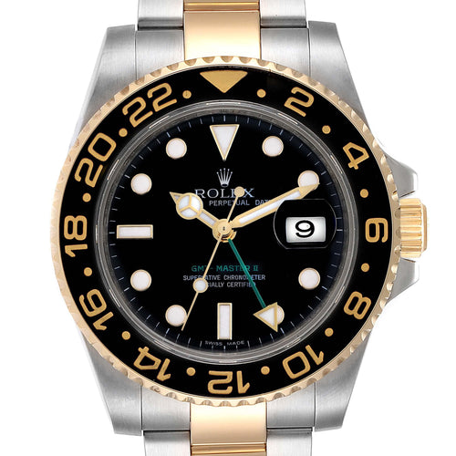 Men's Rolex GMT Master II Yellow Gold Steel Automatic Men's Watch 116713 PRE-OWNED - Global Timez