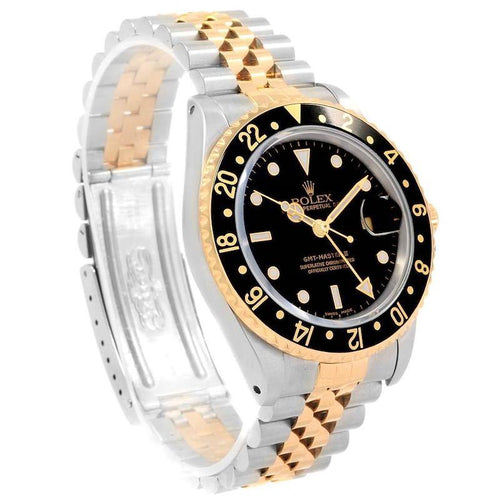 Men's Rolex GMT Master II Yellow Gold Steel Jubilee Bracelet Mens Watch 16713 PRE-OWNED - Global Timez