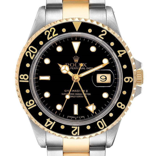 Rolex GMT Master II Yellow Gold Steel Oyster Bracelet Men's Watch 16713 PRE-OWNED - Global Timez