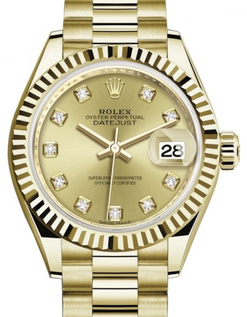 Ladies Rolex Lady Datejust 28 Yellow Gold Champagne Diamond Dial & Fluted Bezel President Bracelet 279178 - BRAND NEW