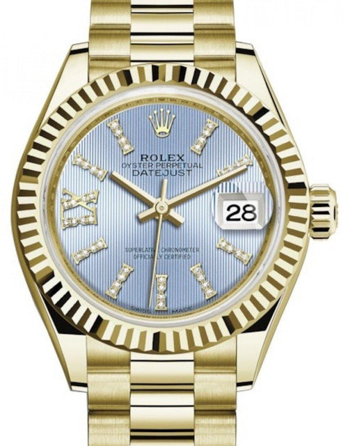 Ladies Rolex Lady Datejust 28 Yellow Gold Cornflower Blue Diamond Index/Roman IX Dial & Fluted Bezel President Bracelet 279178 - BRAND NEW - Global Timez