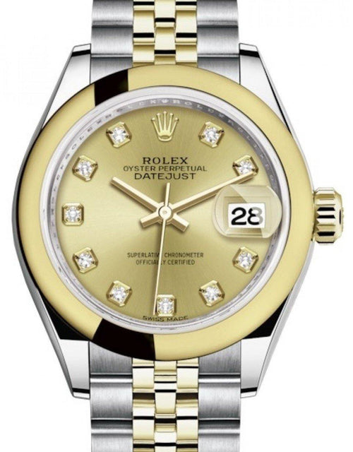 Ladies Rolex Lady Datejust 28 Yellow Gold/Steel Champagne Diamond Dial & Smooth Domed Bezel Jubilee Bracelet 279163 - BRAND NEW - Global Timez