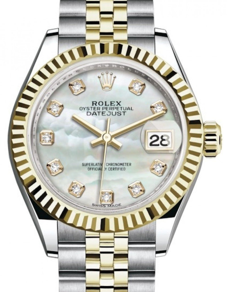 Ladies Rolex Lady Datejust 28 Yellow Gold/Steel White Mother of Pearl Diamond Dial & Fluted Bezel Jubilee Bracelet 279173 - BRAND NEW