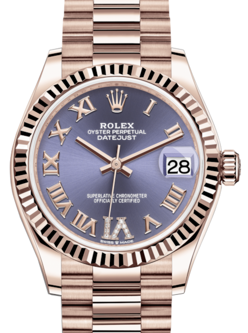 Ladies Rolex Lady-Datejust 31 Rose Gold Aubergine Roman Diamond VI Dial & Fluted Bezel President Bracelet 278275 - BRAND NEW