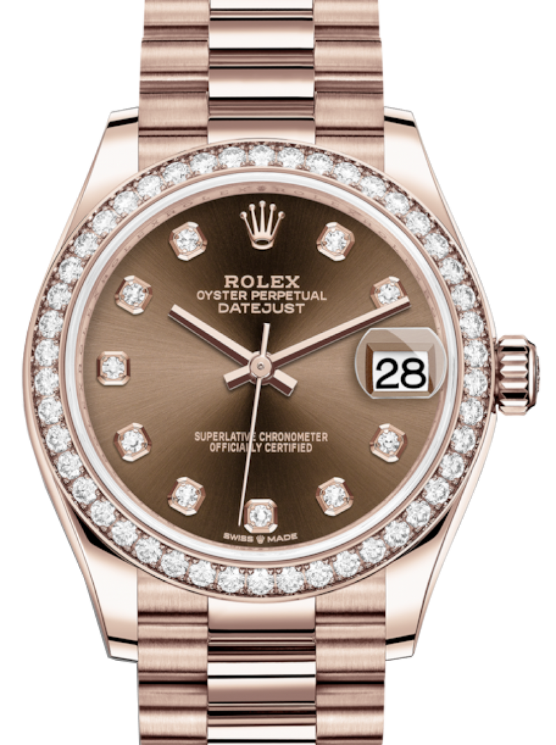 Ladies Rolex Lady-Datejust 31 Rose Gold Chocolate Diamond Dial & Diamond Bezel President Bracelet 278285RBR - BRAND NEW