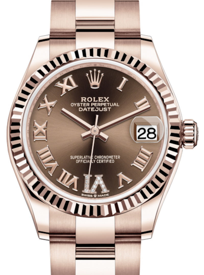 Ladies Rolex Lady-Datejust 31 Rose Gold Chocolate Roman Diamond VI Dial & Fluted Bezel Oyster Bracelet 278275 - BRAND NEW