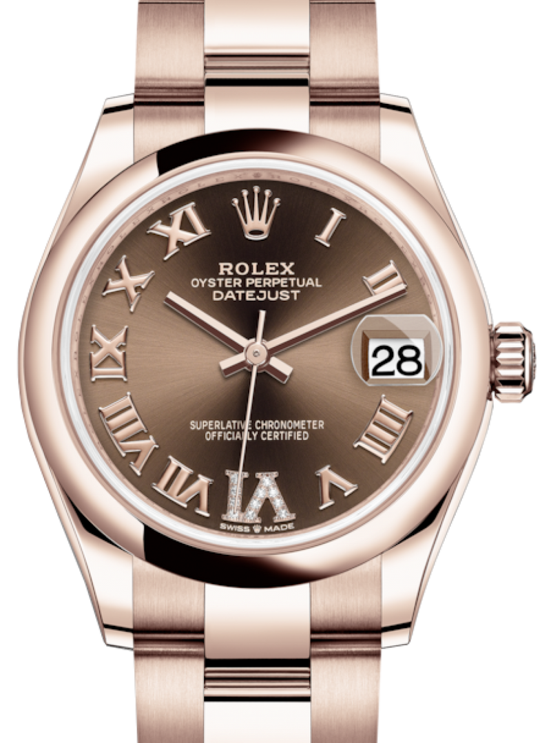 Ladies Rolex Lady-Datejust 31 Rose Gold Chocolate Roman Diamond VI Dial & Smooth Domed Bezel Oyster Bracelet 278245 - BRAND NEW
