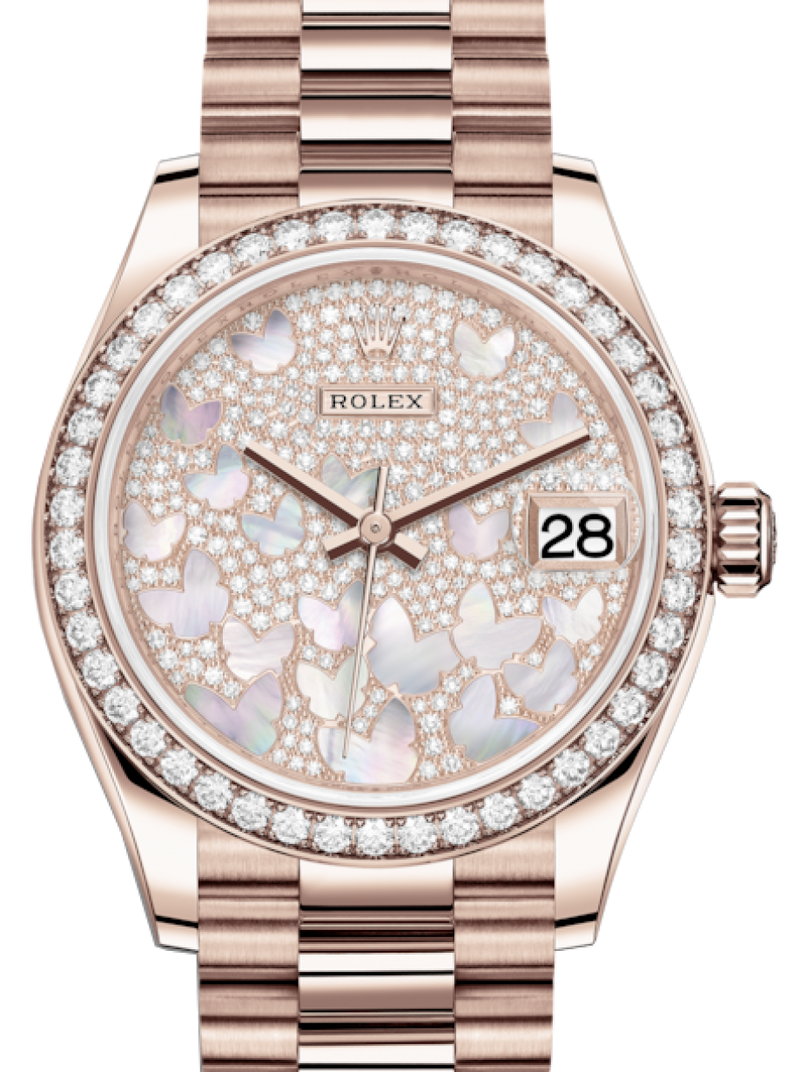 Ladies Rolex Lady-Datejust 31 Rose Gold Mother of Pearl Butterfly Diamond Paved Dial & Diamond Bezel President Bracelet 278285RBR - BRAND NEW
