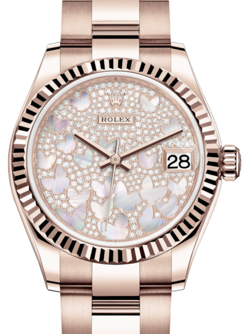 Ladies Rolex Lady-Datejust 31 Rose Gold Mother of Pearl Butterfly Diamond Paved Dial & Fluted Bezel Oyster Bracelet 278275 - BRAND NEW
