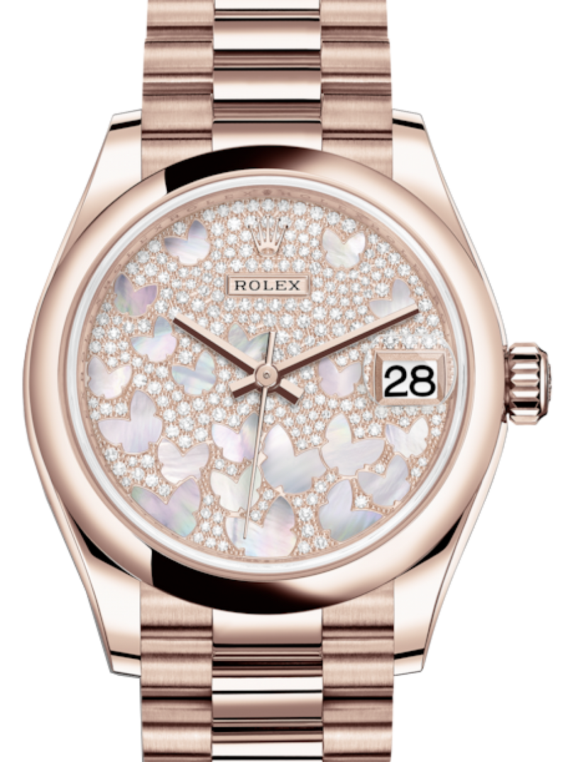 Ladies Rolex Lady-Datejust 31 Rose Gold Mother of Pearl Butterfly Diamond Paved Dial & Smooth Domed Bezel President Bracelet 278245 - BRAND NEW