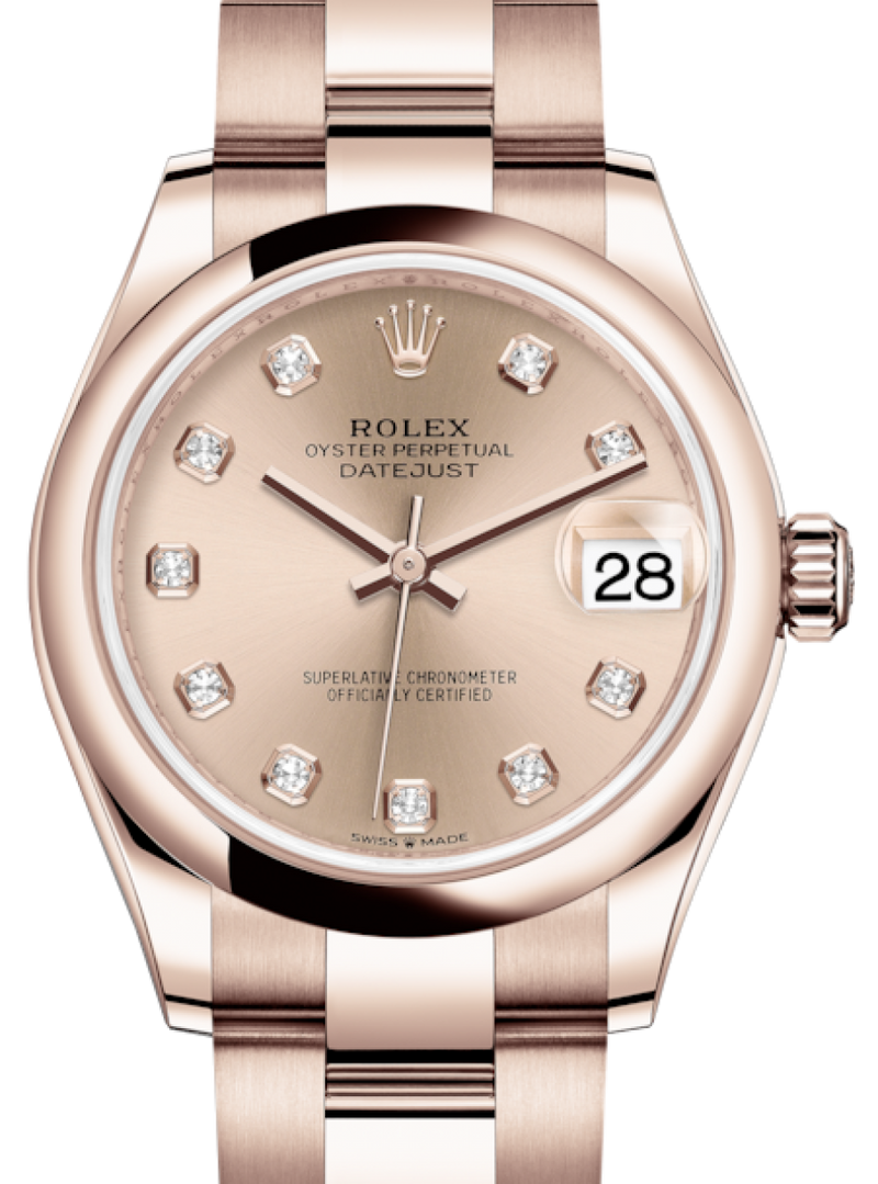 Ladies Rolex Lady-Datejust 31 Rose Gold Rose Diamond Dial & Smooth Domed Bezel Oyster Bracelet 278245 - BRAND NEW