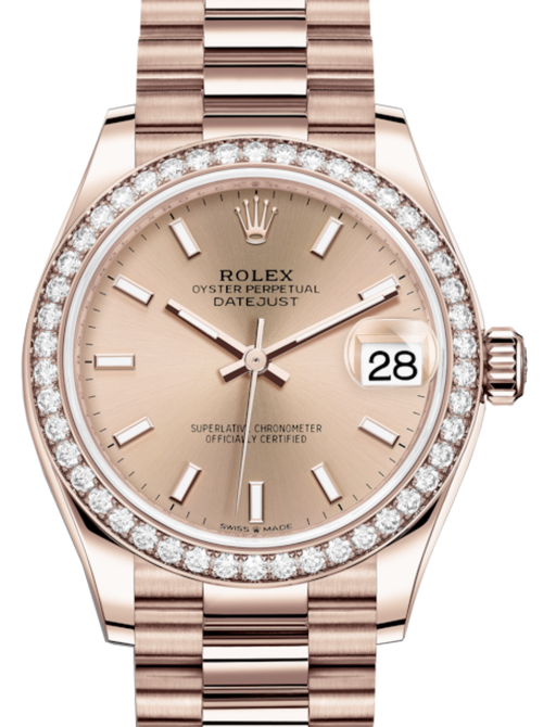 Ladies Rolex Lady-Datejust 31 Rose Gold Rose Index Dial & Diamond Bezel President Bracelet 278285RBR - BRAND NEW - Global Timez