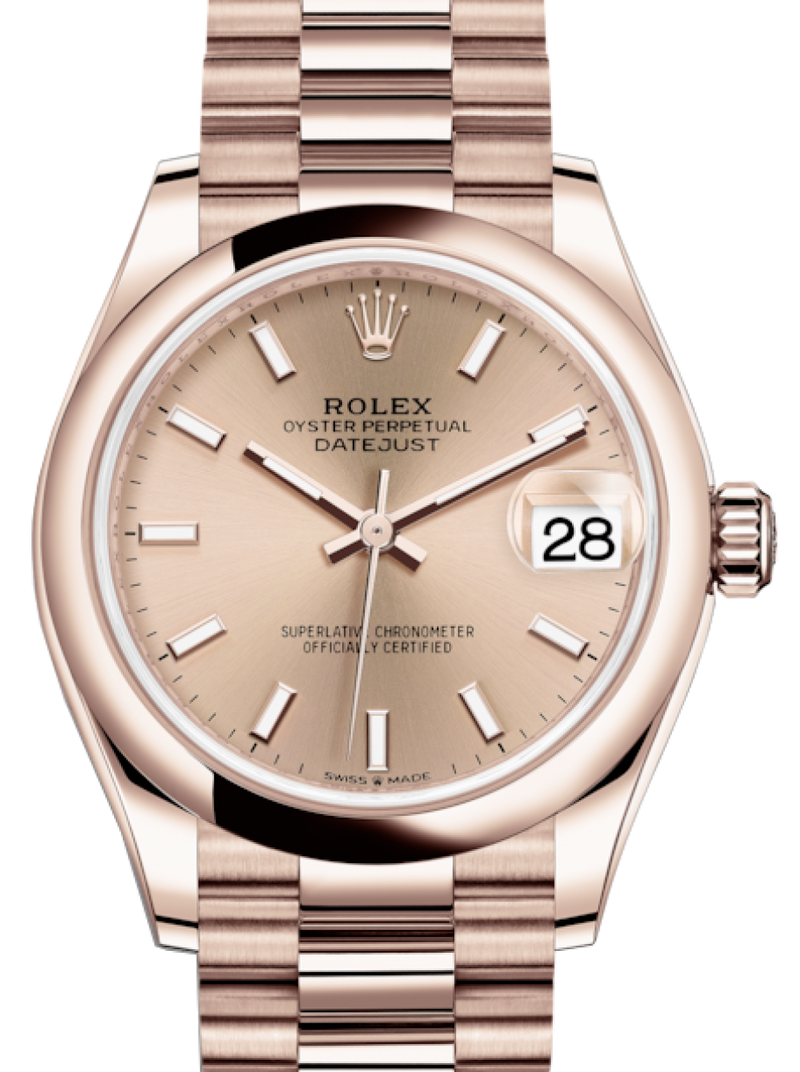 Ladies Rolex Lady-Datejust 31 Rose Gold Rose Index Dial & Smooth Domed Bezel President Bracelet 278245 - BRAND NEW
