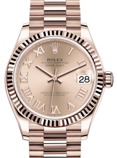 Ladies Rolex Lady-Datejust 31 Rose Gold Rose Roman Dial & Fluted Bezel President Bracelet 278275 - BRAND NEW - Global Timez
