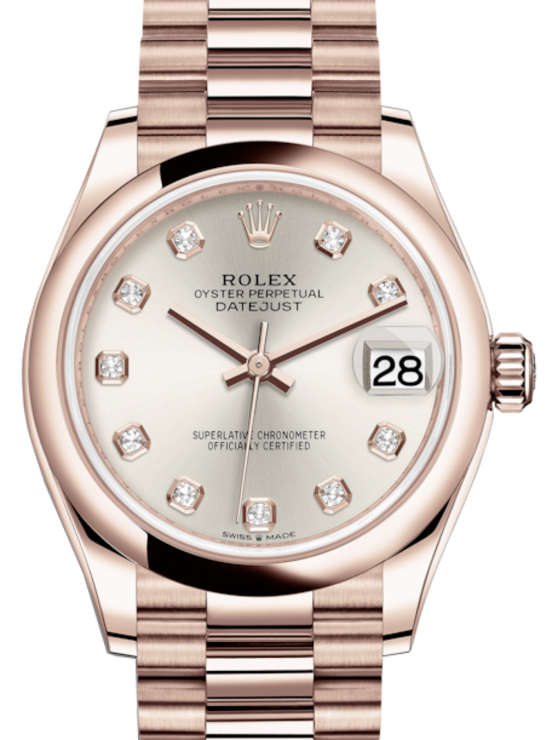 Ladies Rolex Lady-Datejust 31 Rose Gold Silver Diamond Dial & Smooth Domed Bezel President Bracelet 278245 - BRAND NEW