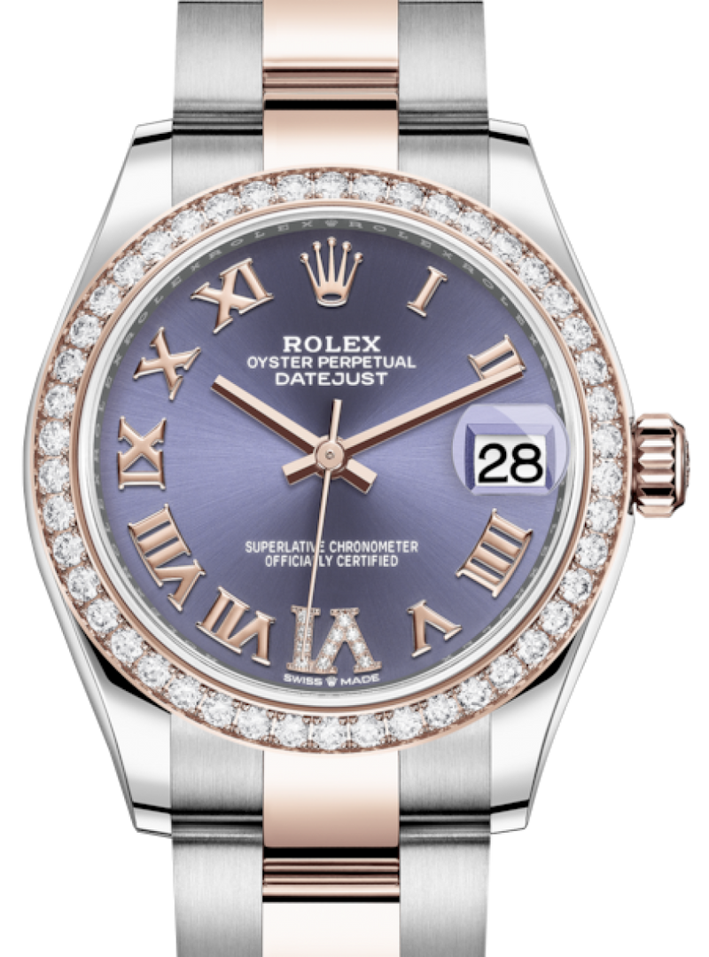 Ladies Rolex Lady-Datejust 31 Rose Gold/Steel Aubergine Roman Diamond VI Dial & Diamond Bezel Oyster Bracelet 278381RBR - BRAND NEW